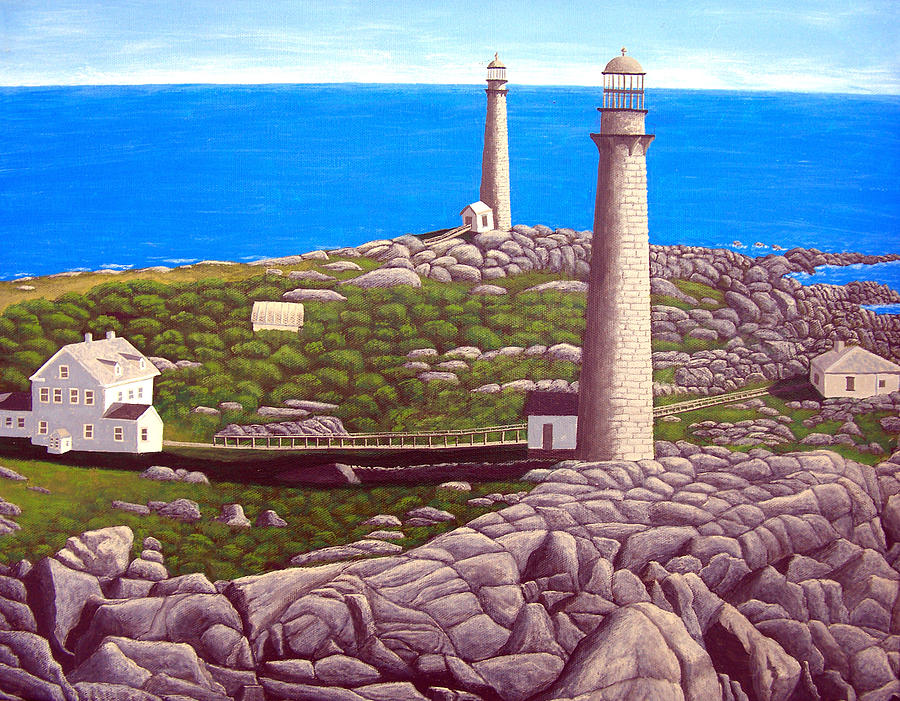 Cape Ann Twin Towers Painting  - Cape Ann Twin Towers Fine Art Print