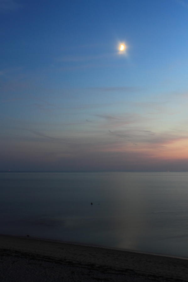 Cape Cod Bay Dusk Moon Photograph