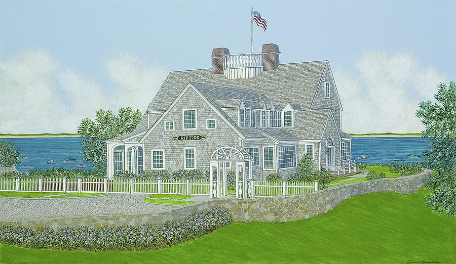 Cape Cod House Portrait Painting  - Cape Cod House Portrait Fine Art Print