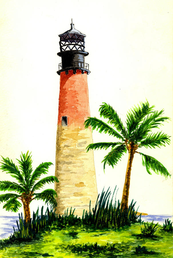 Cape Florida Lighthouse Painting  - Cape Florida Lighthouse Fine Art Print