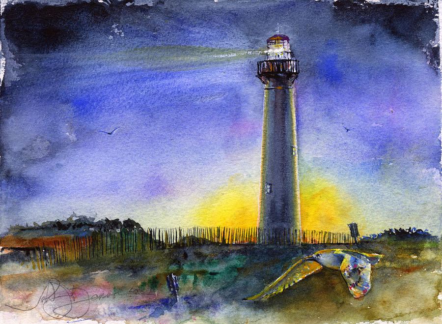 Cape May Lighthouse Sunset is a painting by John D Benson which was ...