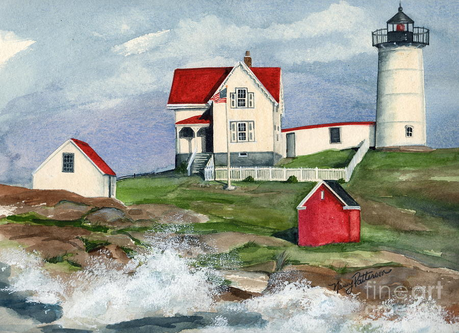 Cape Neddic Lighthouse  Painting  - Cape Neddic Lighthouse  Fine Art Print