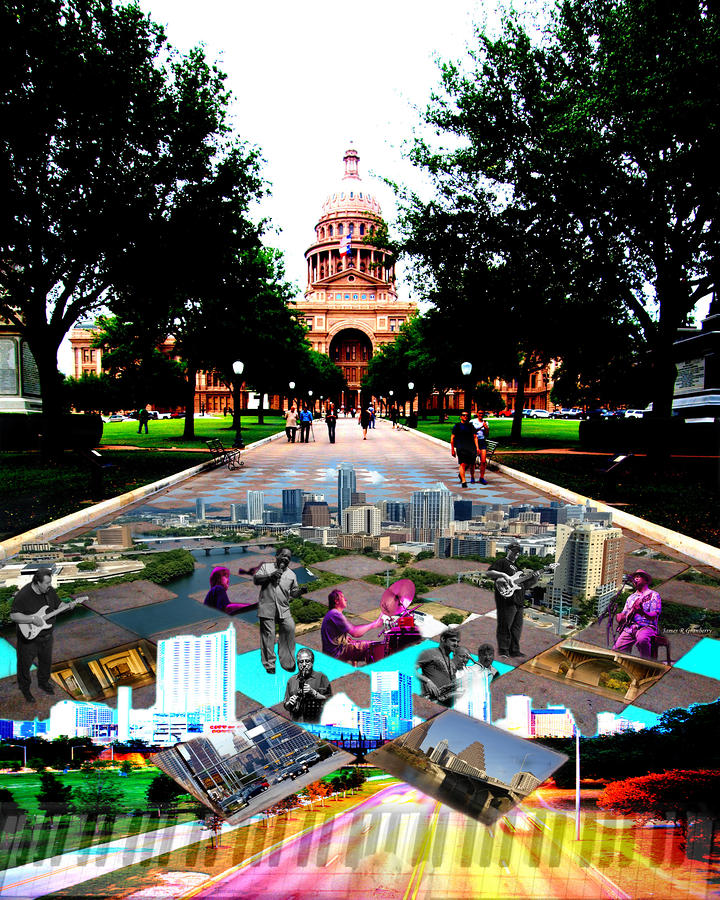 Capital Collage Austin Music Photograph  - Capital Collage Austin Music Fine Art Print