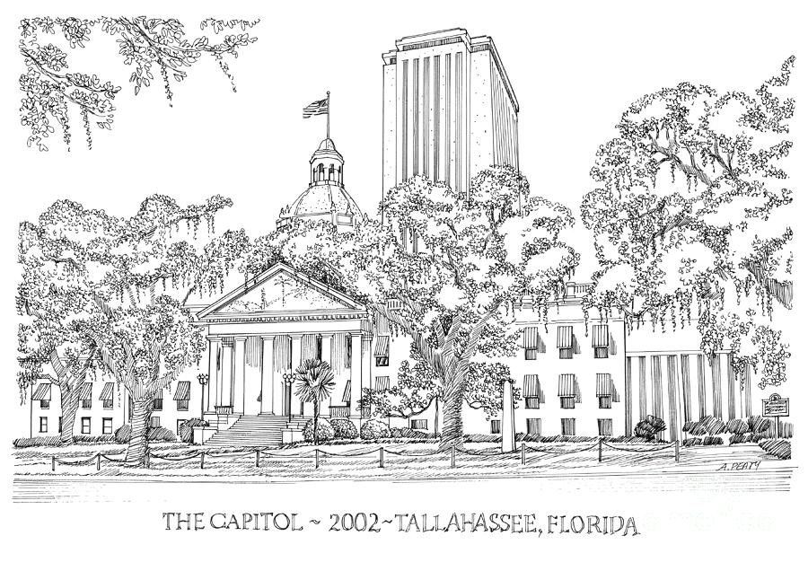 Capitol Drawing - Capitol 2002 Tallahassee by Audrey Peaty