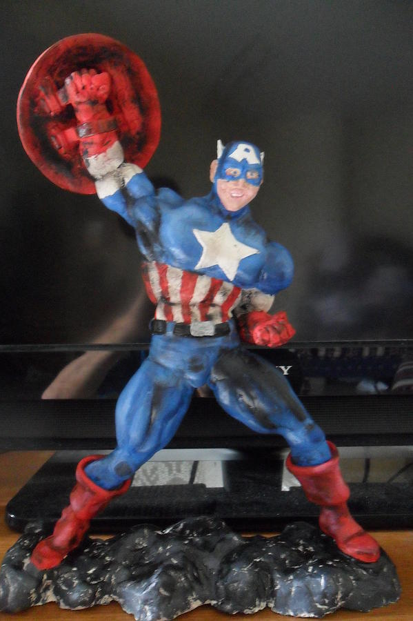 Marvel Comics Sculpture - Captain America by Luis Carlos A