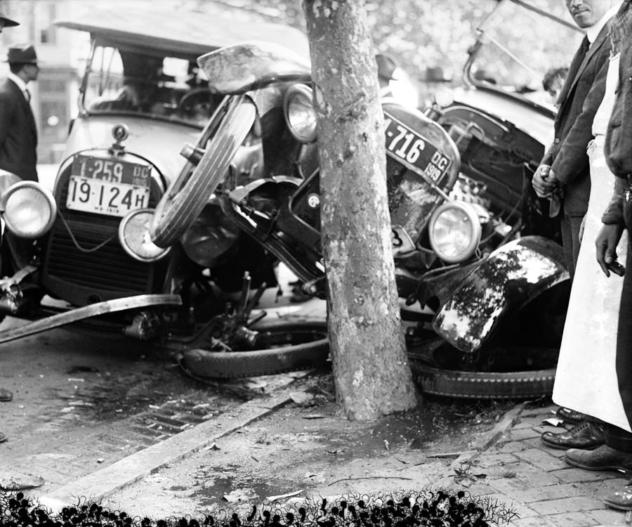 Car Accident, C1919 Photograph