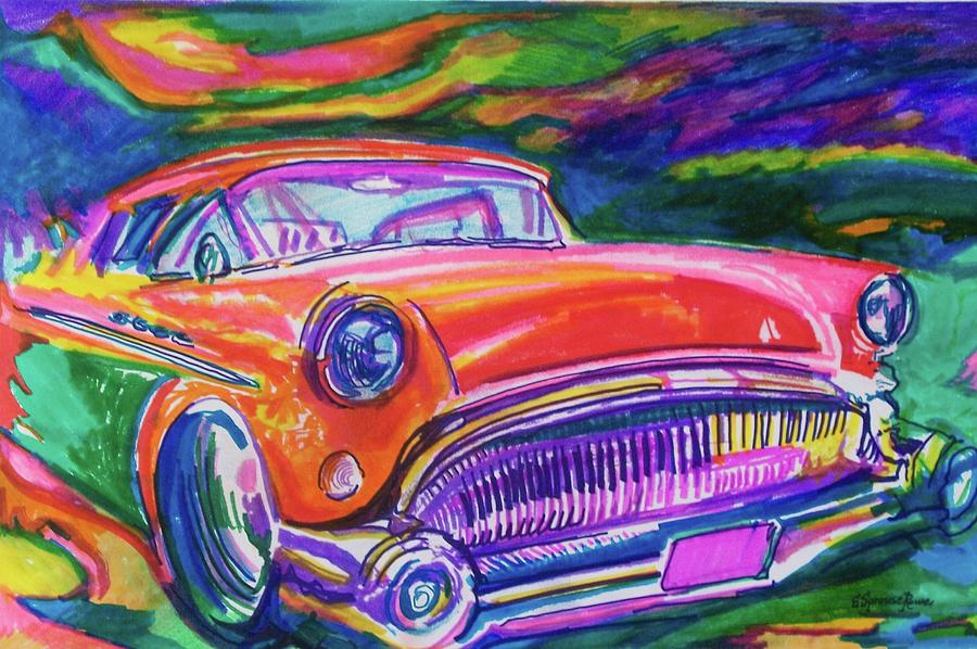 Car And Colorful Painting  - Car And Colorful Fine Art Print