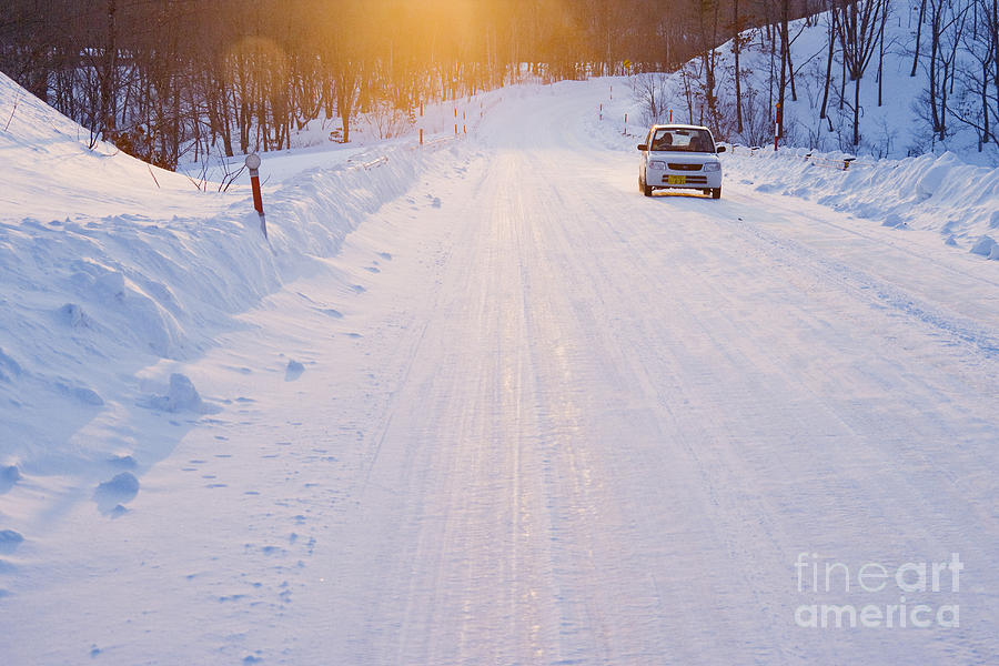 Car On Snow Covered Road Photograph  - Car On Snow Covered Road Fine Art Print
