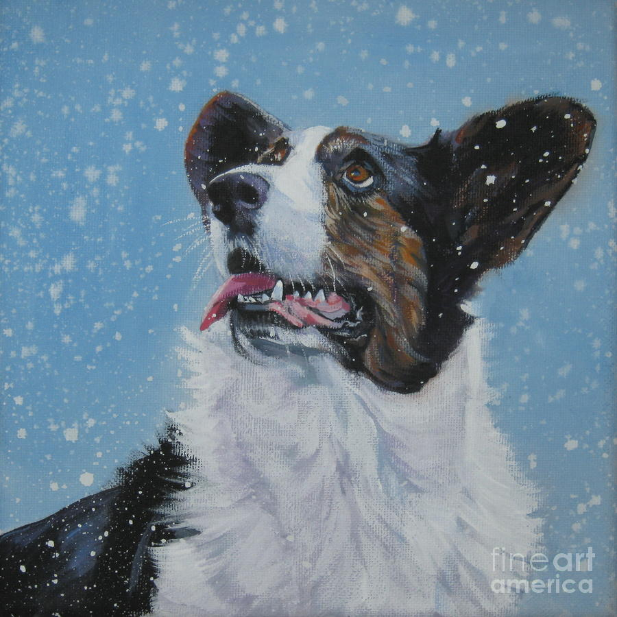 Cardigan Welsh Corgi In Snow Painting  - Cardigan Welsh Corgi In Snow Fine Art Print