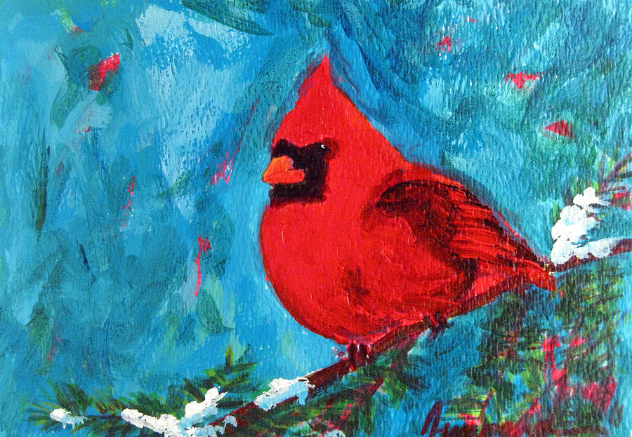 Cardinal red bird painting