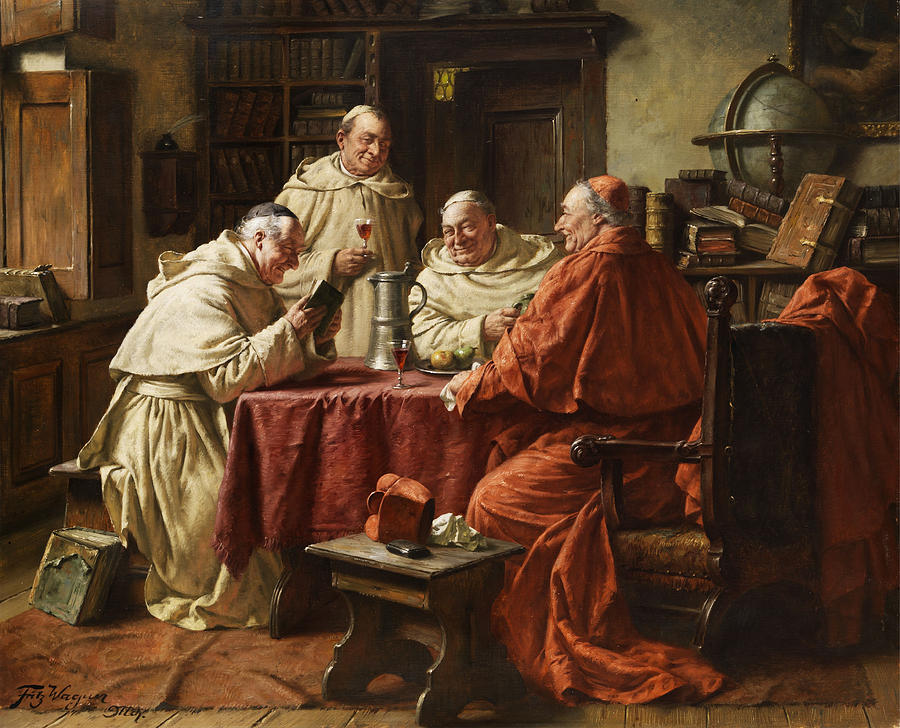 Cardinal With Monks Painting