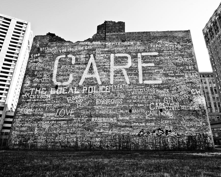 Care Graffiti Building Photograph