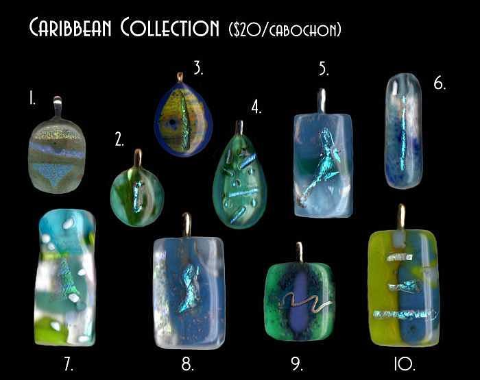Caribbean Design Fused Glass Cabochons Glass Art