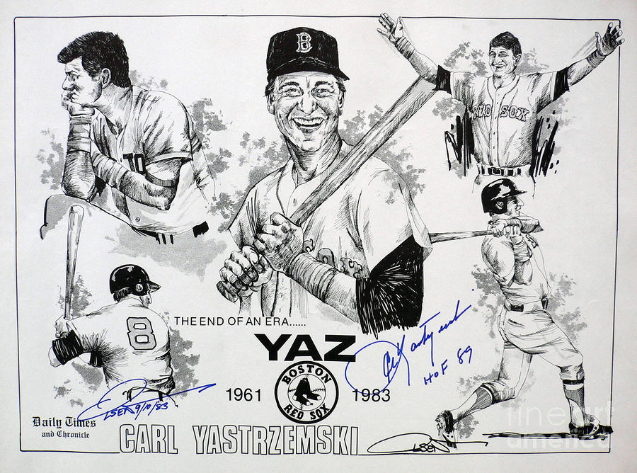 Carl Yastrzemski Retirement Tribute Newspaper Poster Drawing  - Carl Yastrzemski Retirement Tribute Newspaper Poster Fine Art Print
