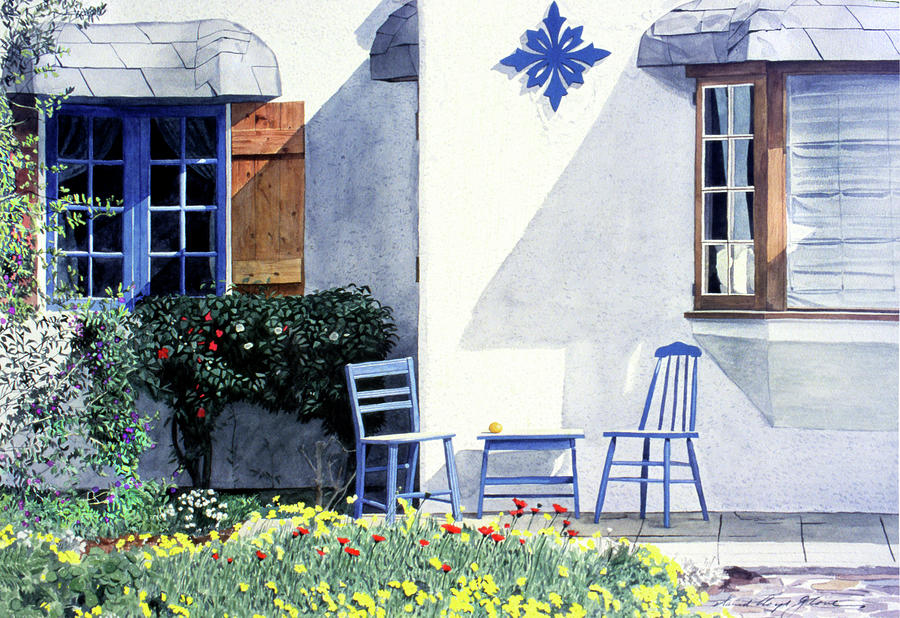 Carmel Cottage With Orange Painting  - Carmel Cottage With Orange Fine Art Print