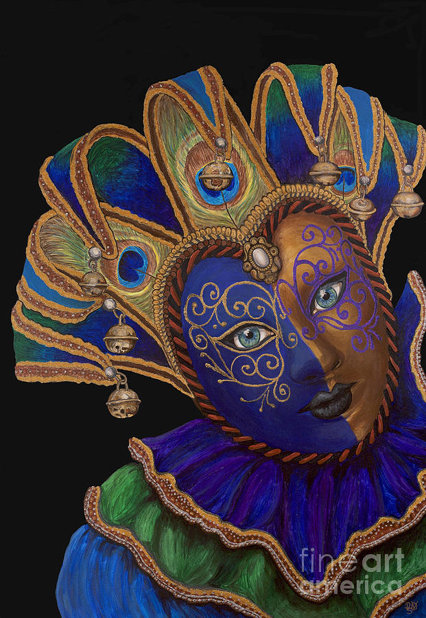 Carnival Peacock Jester Painting