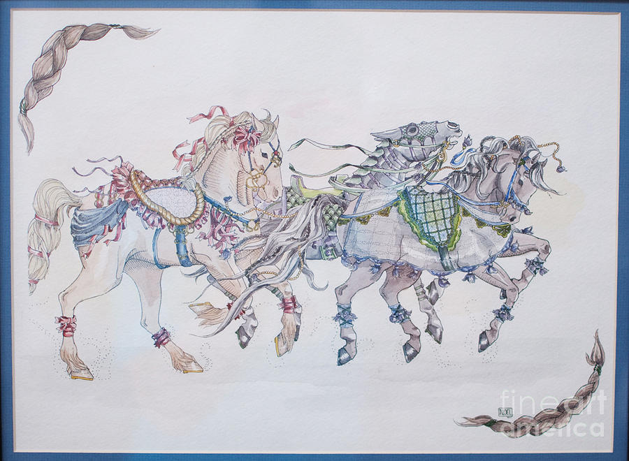 Horse Painting - Carousel Parade by Becka Noel