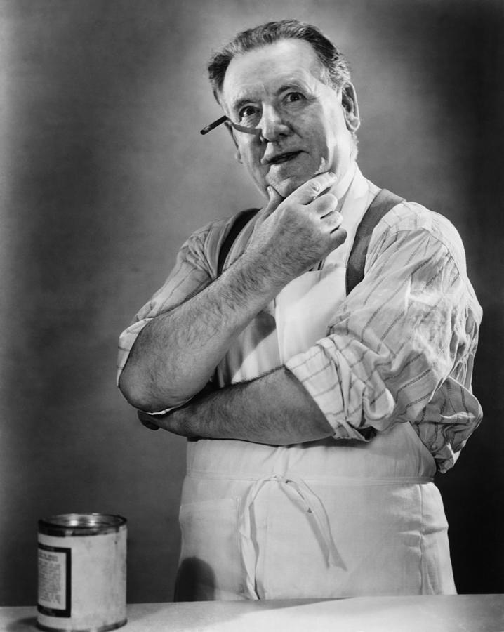 Carpenter Posing In Studio, (b&w) Photograph