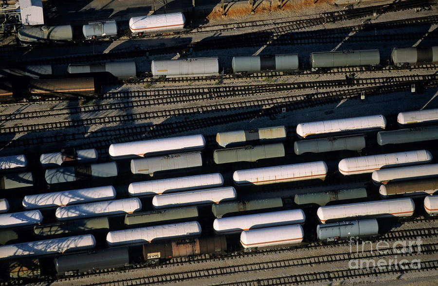 Carriages Of Freight Trains On A Commercial Railway Photograph  - Carriages Of Freight Trains On A Commercial Railway Fine Art Print