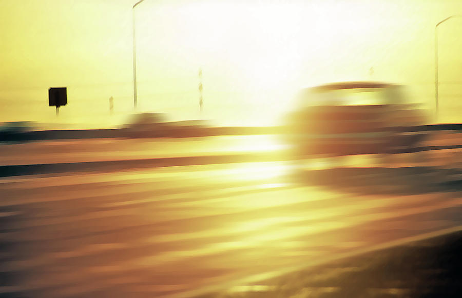 Cars On Freeway 3 - Evening Commute Photograph  - Cars On Freeway 3 - Evening Commute Fine Art Print