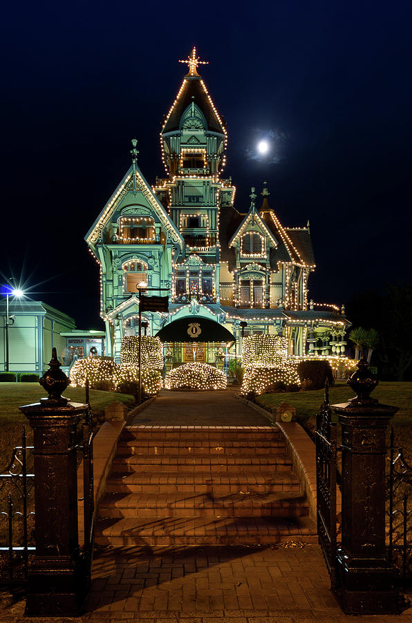 Carson Mansion At Christmas With Moon Photograph
