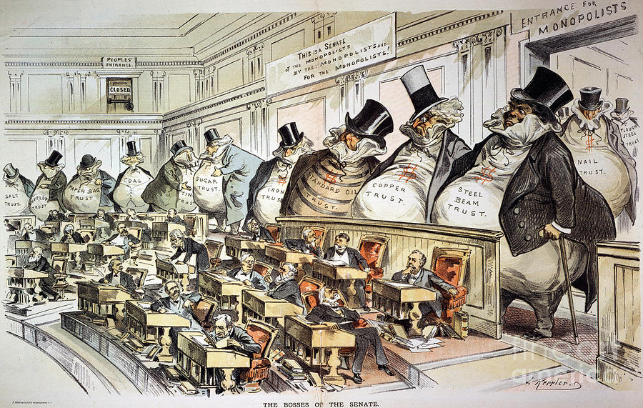Cartoon: Anti-trust, 1889 Photograph  - Cartoon: Anti-trust, 1889 Fine Art Print