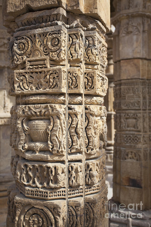Carved Pillars In The Qutub Complex Photograph  - Carved Pillars In The Qutub Complex Fine Art Print