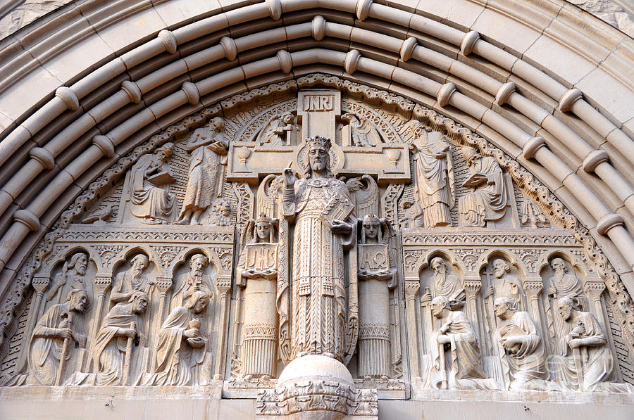 Carved Photograph - Carved Stone Biblical Mural Above Catholic Cathedral Doorway  by Gary Whitton