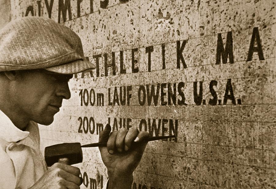 Carving The Name Of Jesse Owens Into The Champions Plinth At The 1936 Summer Olympics In Berlin Photograph  - Carving The Name Of Jesse Owens Into The Champions Plinth At The 1936 Summer Olympics In Berlin Fine Art Print
