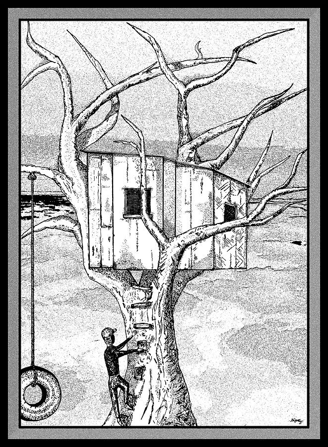 Castle In The Tree - A Childhood Dream Drawing  - Castle In The Tree - A Childhood Dream Fine Art Print