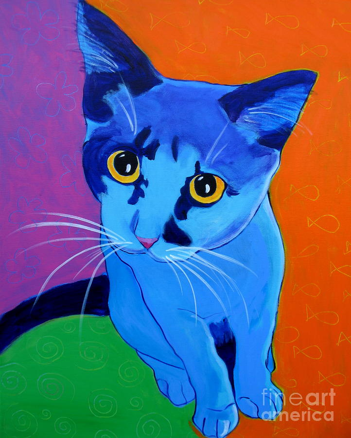 Cat - Kitten Blue Painting