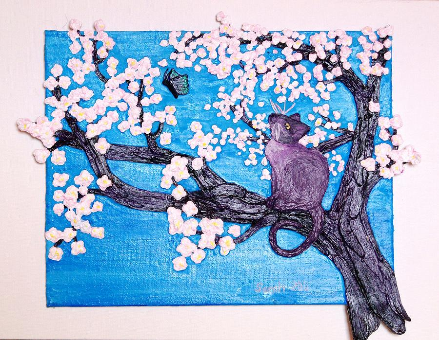 Cat Among The Cherry Blossoms Mixed Media  - Cat Among The Cherry Blossoms Fine Art Print