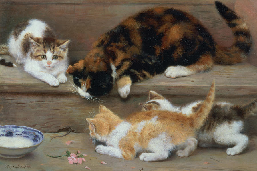 Cat And Kittens Chasing A Mouse   Painting  - Cat And Kittens Chasing A Mouse   Fine Art Print