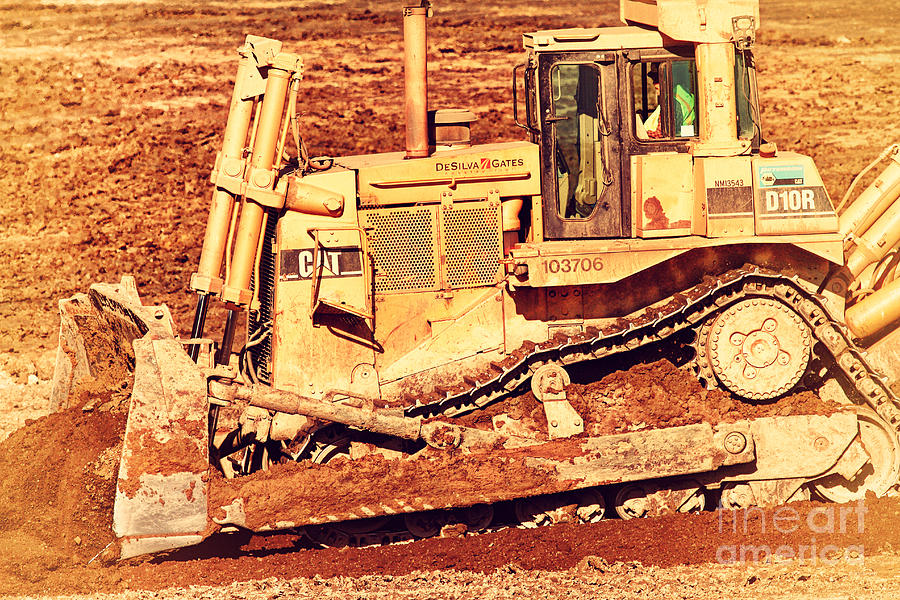 Cat Bulldozer . 7d10945 Photograph  - Cat Bulldozer . 7d10945 Fine Art Print