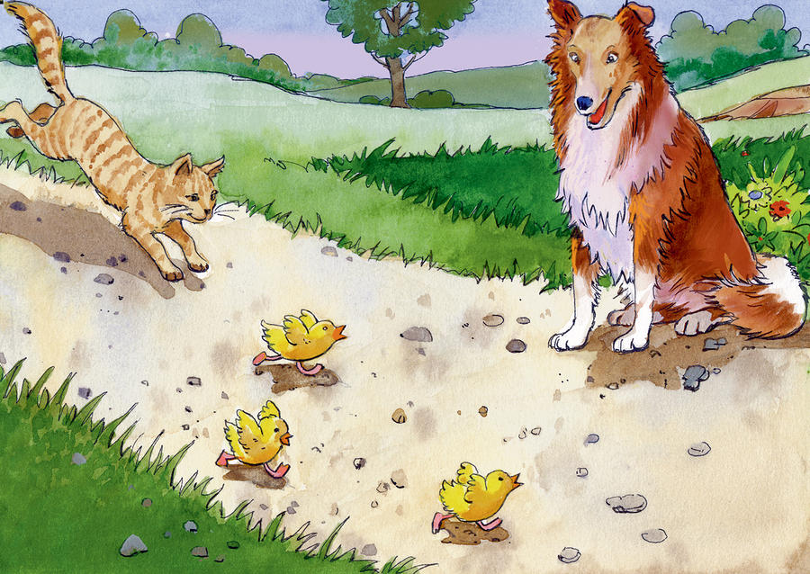Cat Chasing Chicks Painting  - Cat Chasing Chicks Fine Art Print