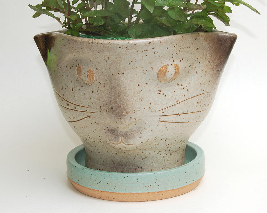 Cat Face Planter Ceramic Art By Lisa Sowers