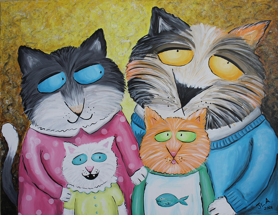 Cat Family Portrait Painting  - Cat Family Portrait Fine Art Print