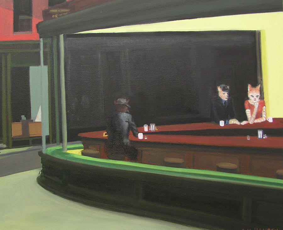 Cat hawks at the diner by g kitty hansen for Diner painting