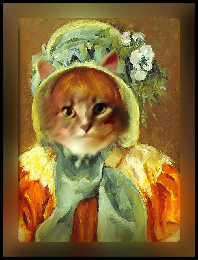 Cat In Bonnet Painting  - Cat In Bonnet Fine Art Print