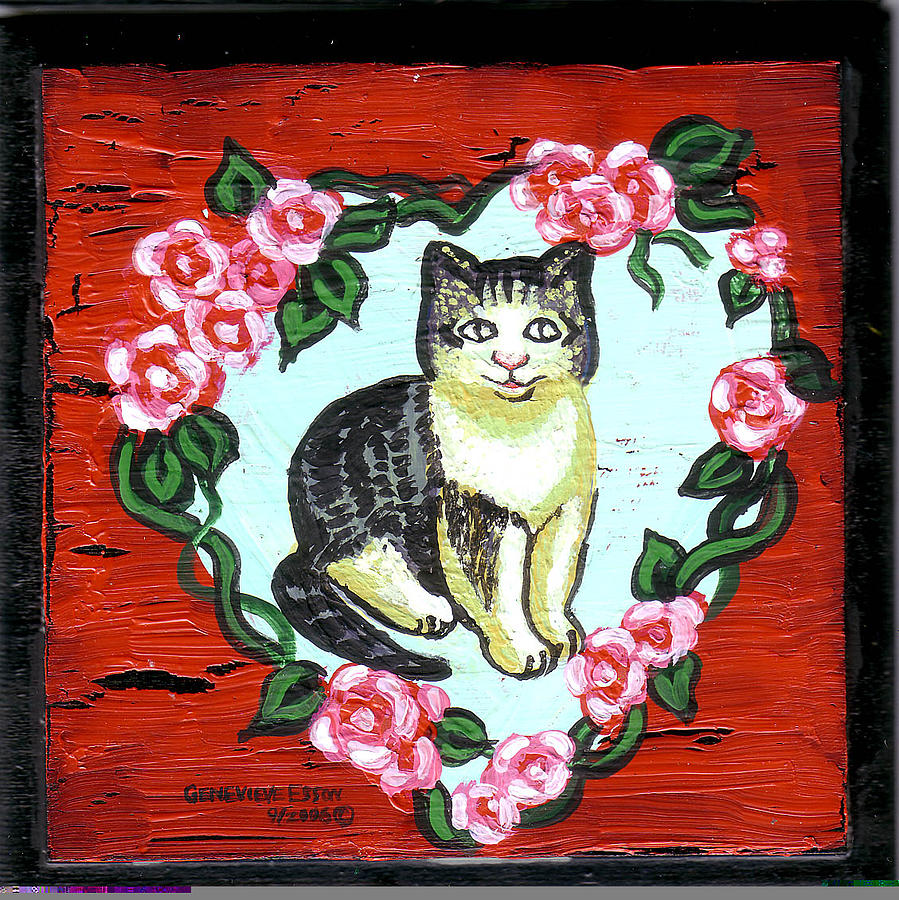 Cat In Heart Wreath 1 Painting  - Cat In Heart Wreath 1 Fine Art Print