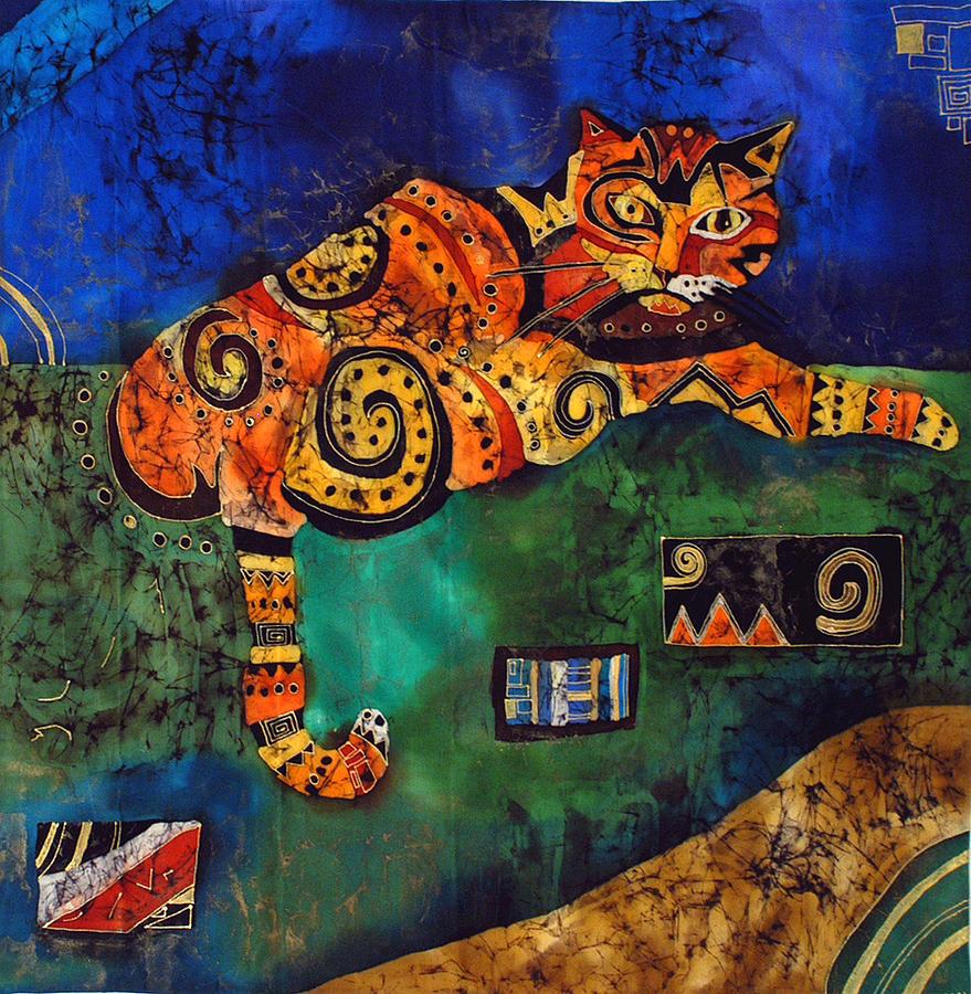 Silk Tapestry - Textile - Cat by Sandra Kern