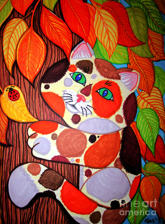 Cat Up A Tree Drawing  - Cat Up A Tree Fine Art Print