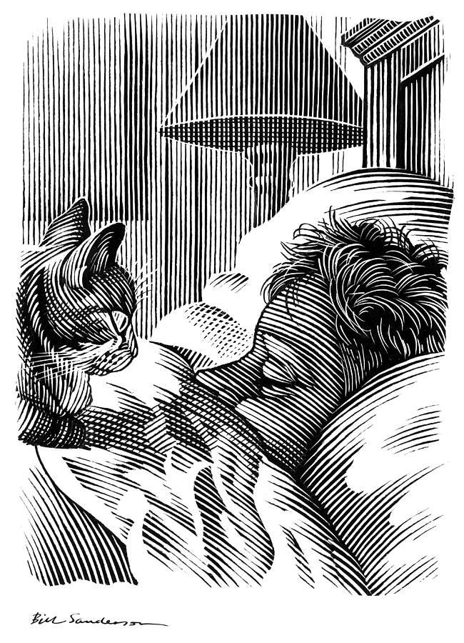 Domestic Cat Photograph - Cat Watching Sleeping Man, Artwork by Bill Sanderson