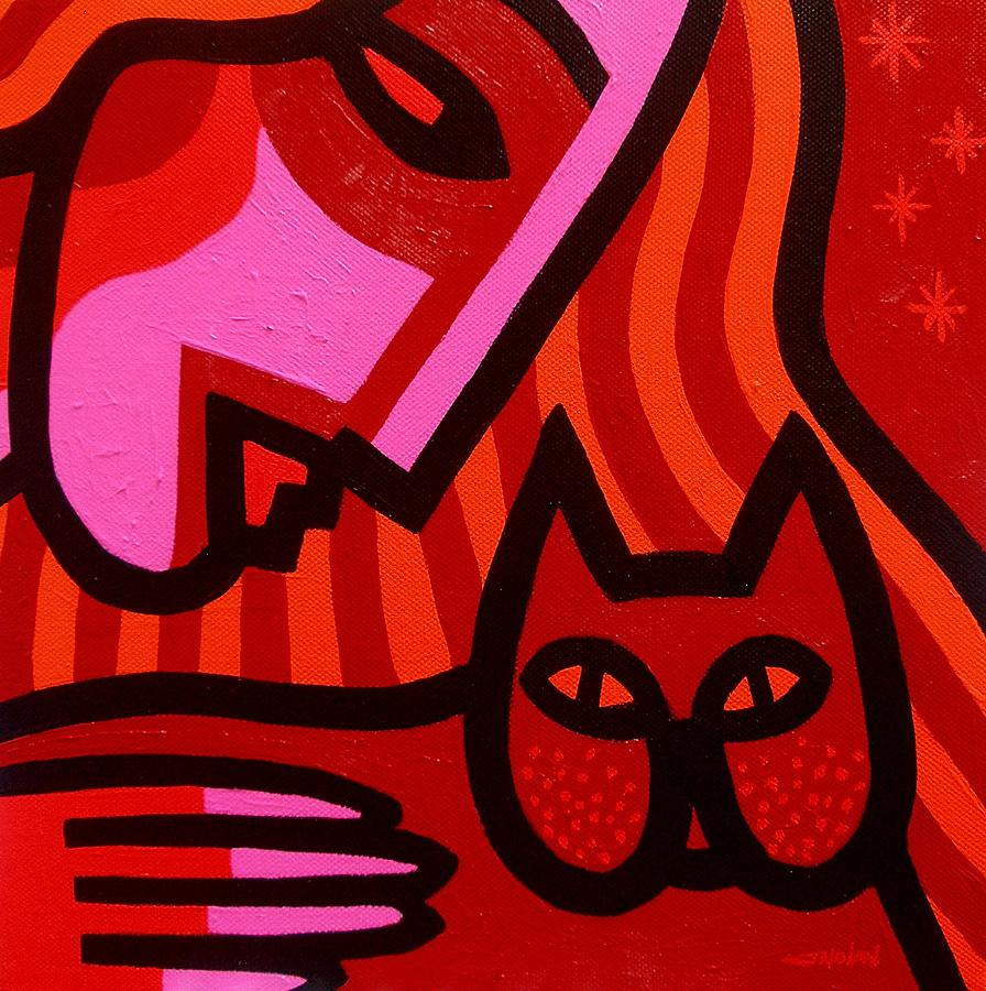 Cat Woman Painting  - Cat Woman Fine Art Print