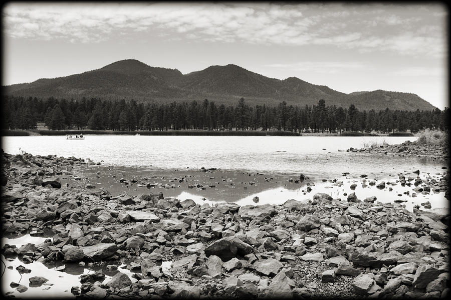 Cataract Lake Black And White Photograph
