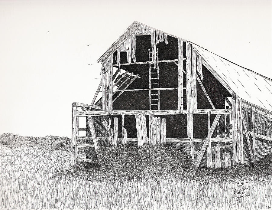 Catawba Barn Drawing  - Catawba Barn Fine Art Print
