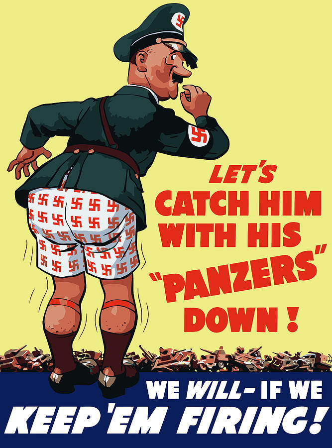 Catch Him With His Panzers Down Painting