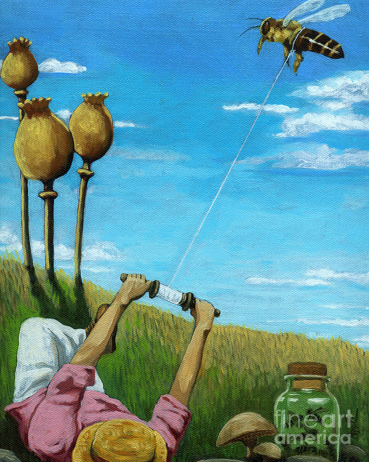 Catchin A Buzz - Fantasy Oil Painting Painting  - Catchin A Buzz - Fantasy Oil Painting Fine Art Print