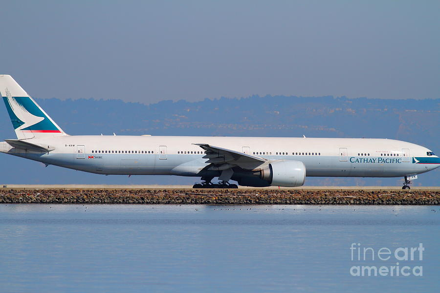 Cathay Pacific Airlines Jet Airplane At San Francisco International Airport Sfo . 7d11882 Photograph  - Cathay Pacific Airlines Jet Airplane At San Francisco International Airport Sfo . 7d11882 Fine Art Print