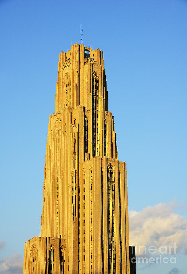 Cathedral Of Learning In Evening Light Photograph  - Cathedral Of Learning In Evening Light Fine Art Print